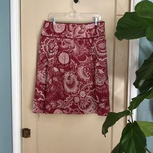 Ann Taylor red and cream floral skirt